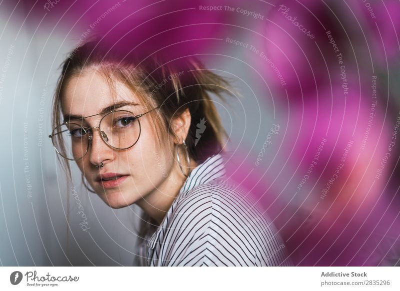 Young girl in stylish eyeglasses Woman Eyeglasses Hip & trendy Posture Portrait photograph human face Calm Style Youth (Young adults) Easygoing Wear Modern