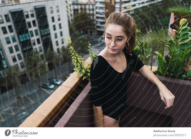 Young model on terrace Woman Posture Terrace Cheerful Self-confident To enjoy Relaxation Leisure and hobbies Freedom Summer Fresh Action Calm recreational
