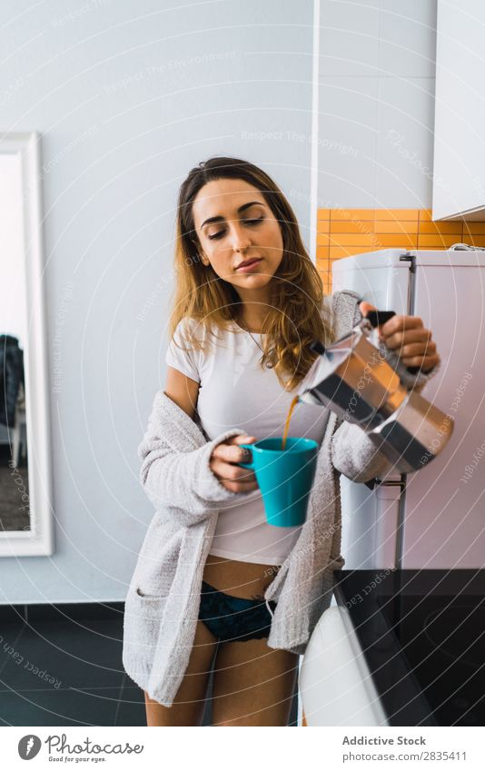 Pretty woman pouring coffee Woman pretty Home Youth (Young adults) Coffee Cup brewed Posture Portrait photograph Beautiful Lifestyle Beauty Photography