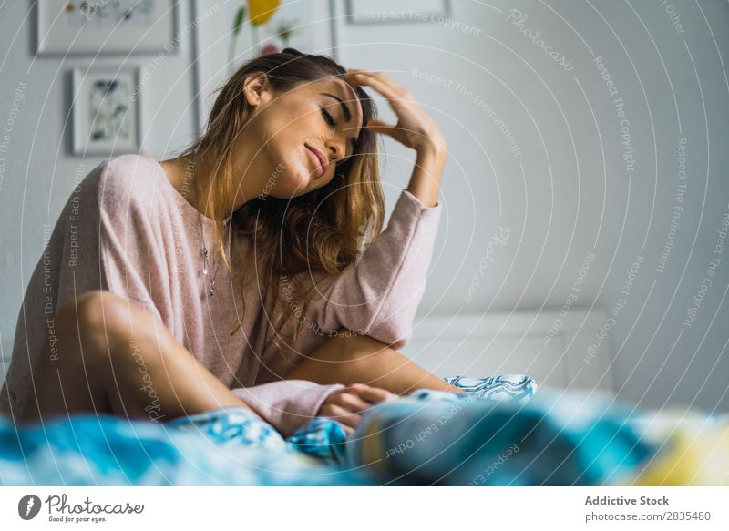 Young woman lying in bed Woman pretty Home Youth (Young adults) Cozy Bedroom Posture Portrait photograph Beautiful Lifestyle Beauty Photography Attractive Lady