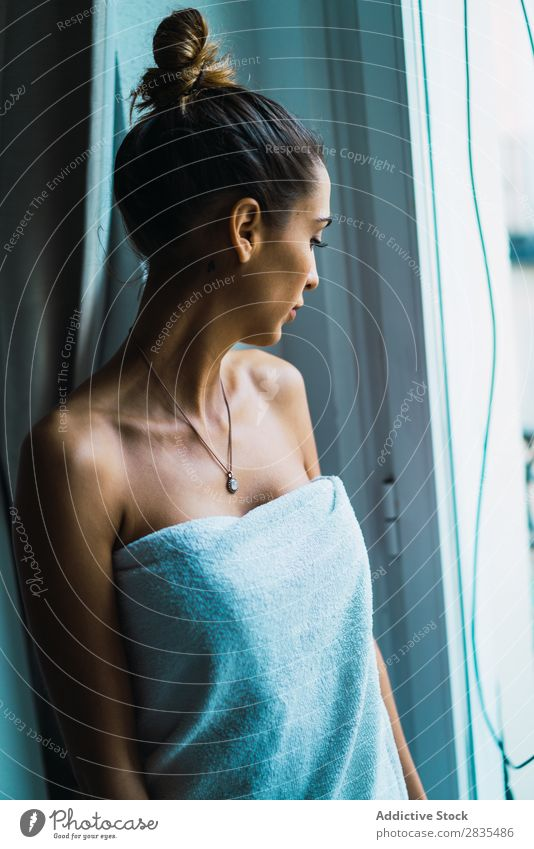 Woman in towel at window pretty Home Youth (Young adults) Towel Window Stand To enjoy Posture Portrait photograph Beautiful Lifestyle Beauty Photography