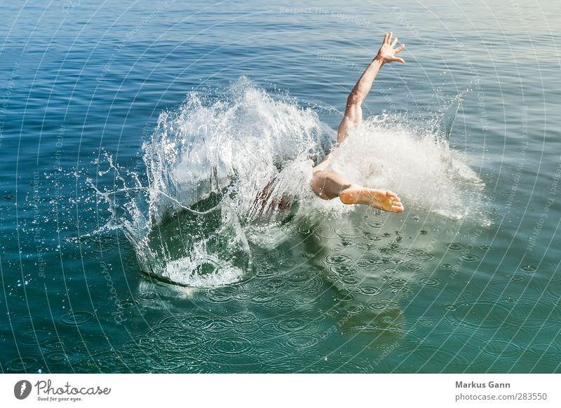 Human being Man Blue Water Summer Ocean Joy Adults Movement Jump Swimming & Bathing Masculine Beginning Dive Aquatics Inject