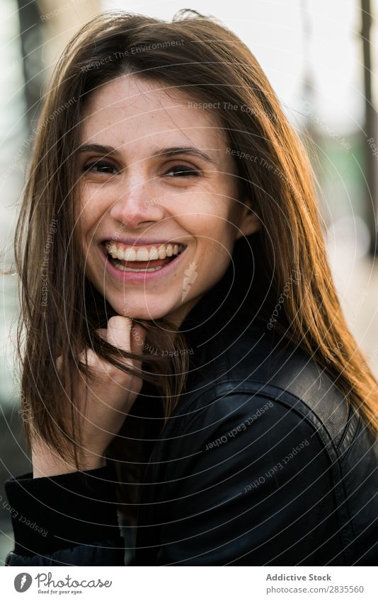 Laughing pretty woman Woman Face Looking into the camera Close-up Cheerful Smiling Laughter Beautiful Portrait photograph Beauty Photography Girl Attractive