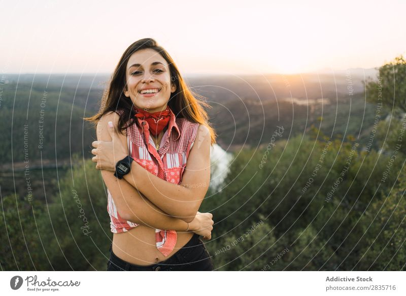 Cheerful woman in bright light on nature Woman Nature Portrait photograph Happiness Traveling Style Leisure and hobbies human face Self-confident Feminine