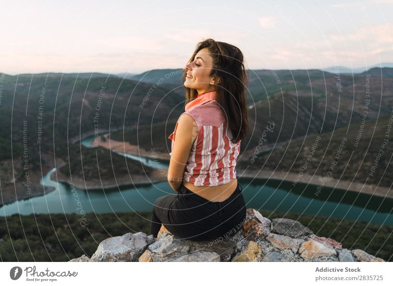 Stylish woman on picturesque landscape Woman Panorama (Format) Posture Destination Landscape Freedom Adventure Tourism traveler Leisure and hobbies Beautiful