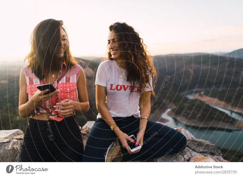 Stylish women taking selfie on breathtaking landscape Woman Selfie Nature Mountain Point in time Cheerful Panorama (Format) Summer PDA Wanderlust having fun