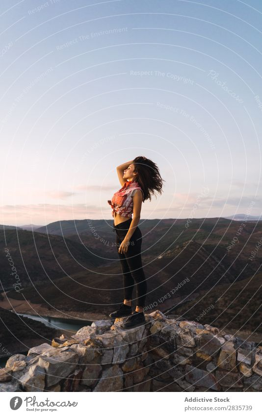 Stylish traveler standing on viewpoint terrace Woman Style Vacation & Travel Dream Considerate exploration Modern Relaxation Nature Portrait photograph