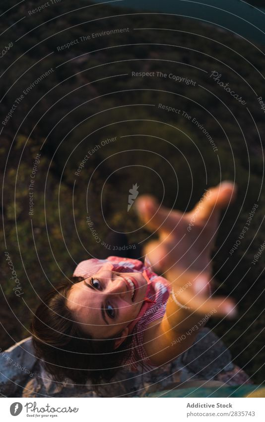 Woman outstretching hand at camera in light Height traveler Vacation & Travel having fun Tourist Relaxation Natural emotional Gesture Nature Leisure and hobbies