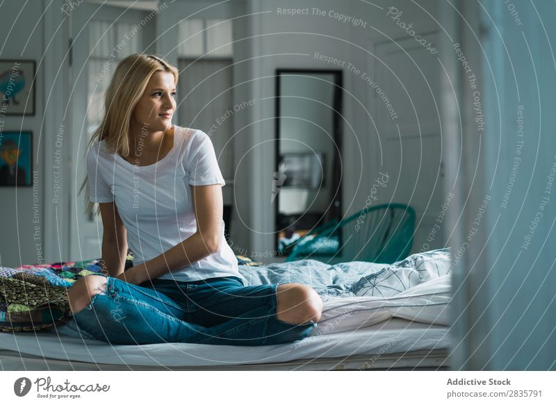 Woman on bed looking away Home Youth (Young adults) Blonde Sit Bed Dream Pensive