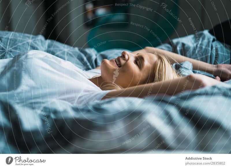 Blonde woman lying in bed Woman pretty Home Youth (Young adults) Dream delighted Lie (Untruth) Bed Bedroom Beautiful Lifestyle Beauty Photography Attractive
