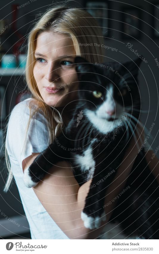 Young woman with cat Woman pretty Home Youth (Young adults) Blonde Cat Pet Friendship owner Animal Beautiful Lifestyle Beauty Photography Attractive
