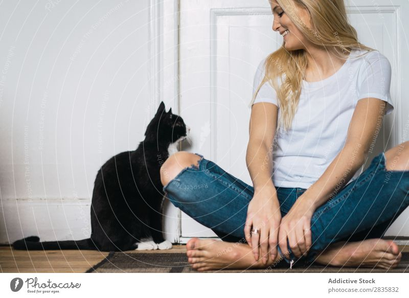 Young woman with cat Woman Home Youth (Young adults) Blonde Cat Pet Friendship