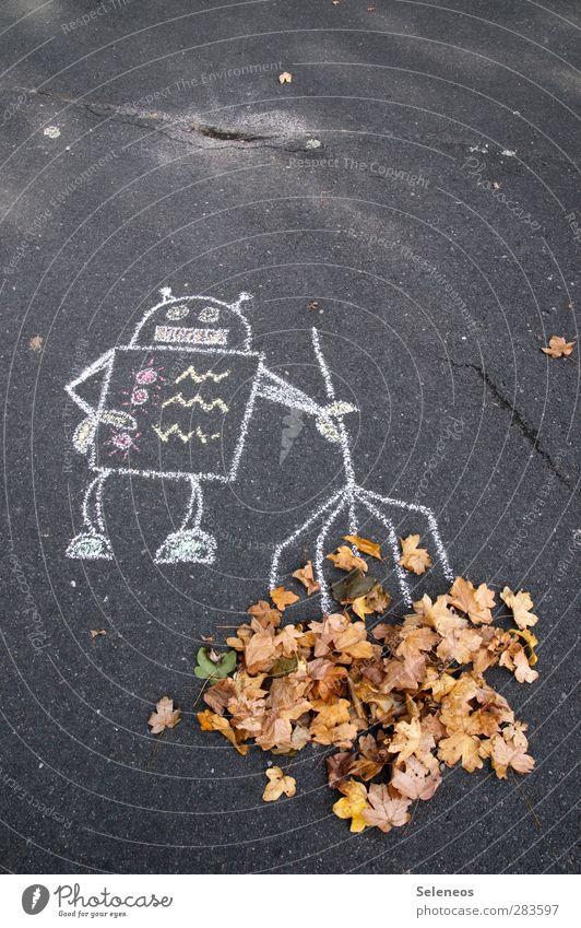 hot sweeper Street painting Nature Autumn Plant Leaf Rake Cleaning Funny Robot Chalk Chalk drawing Tidy up Colour photo Exterior shot Deserted Copy Space top