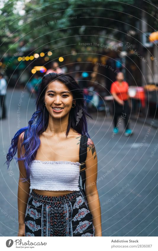 Woman with purple hair on street pretty Street Youth (Young adults) Beautiful Dream Portrait photograph Hair Purple asian eastern Fashion Attractive City