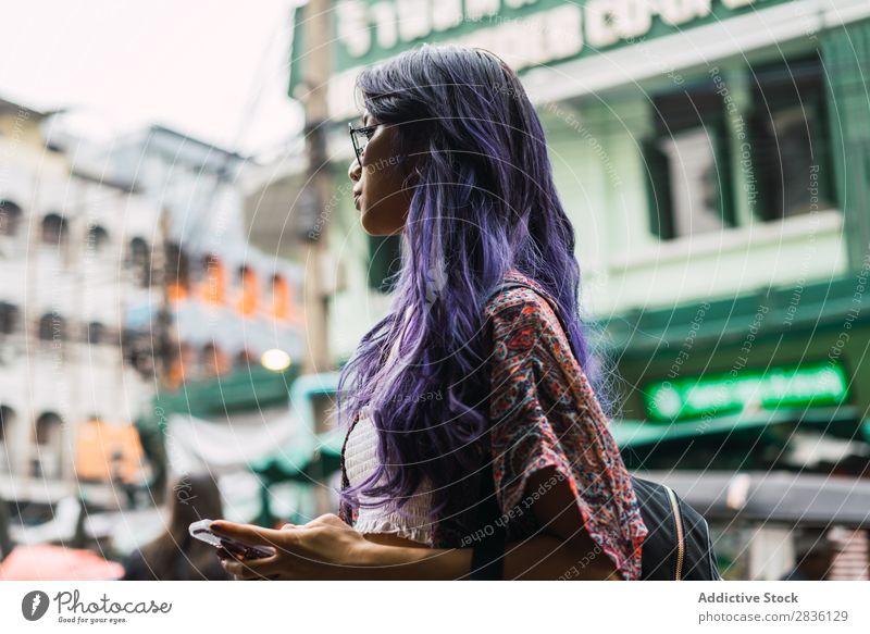 Pretty Asian woman on street Woman Street Youth (Young adults) Beautiful Portrait photograph Hair Purple Sunglasses