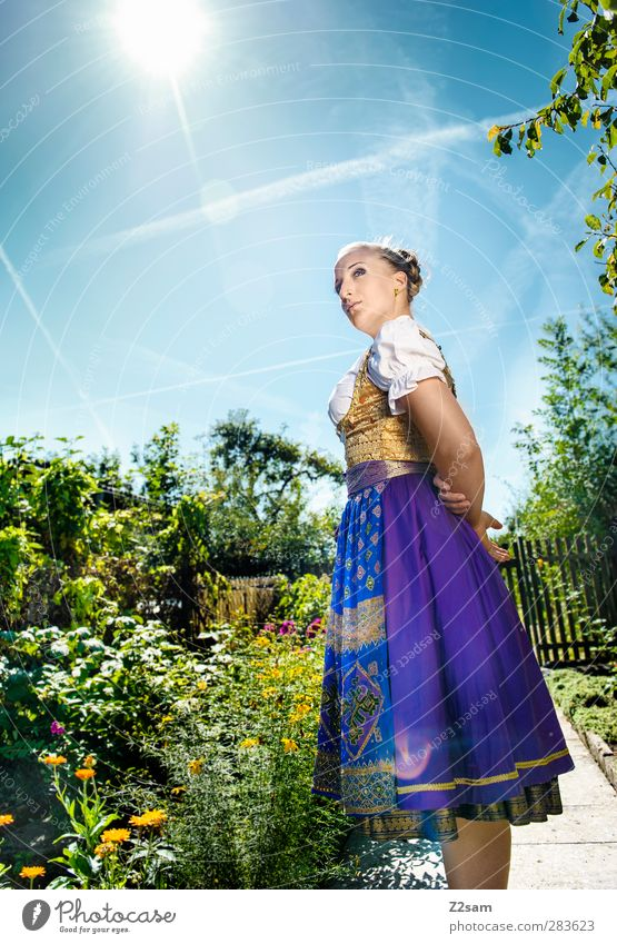 Madl Elegant Style Oktoberfest Feminine Young woman Youth (Young adults) 1 Human being 18 - 30 years Adults Nature Landscape Cloudless sky Summer Flower Bushes