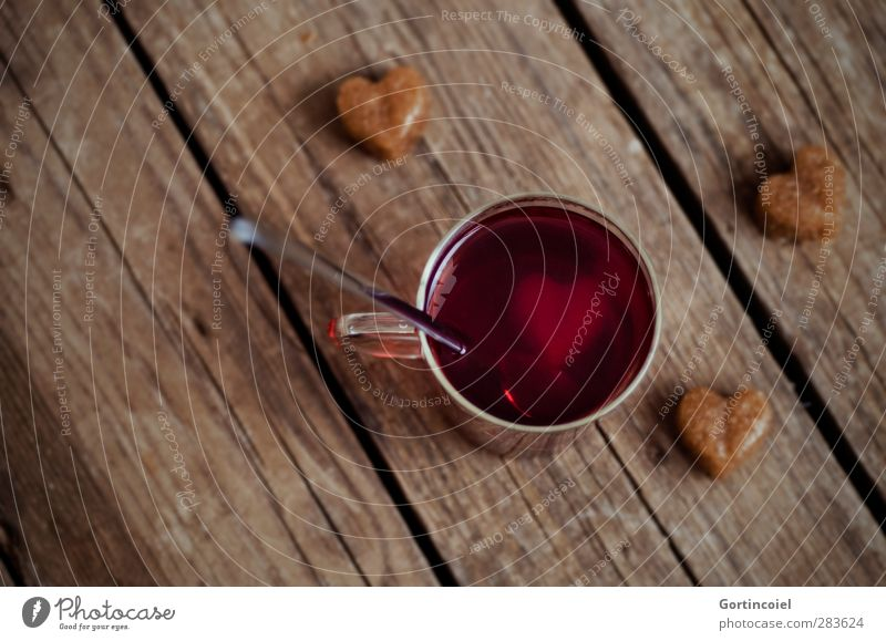 Christmas & Advent Warmth Food Heart Beverage Sweet Hot Tea Candy Cup Food photograph Sugar Spoon Wooden table Mulled wine To have a coffee