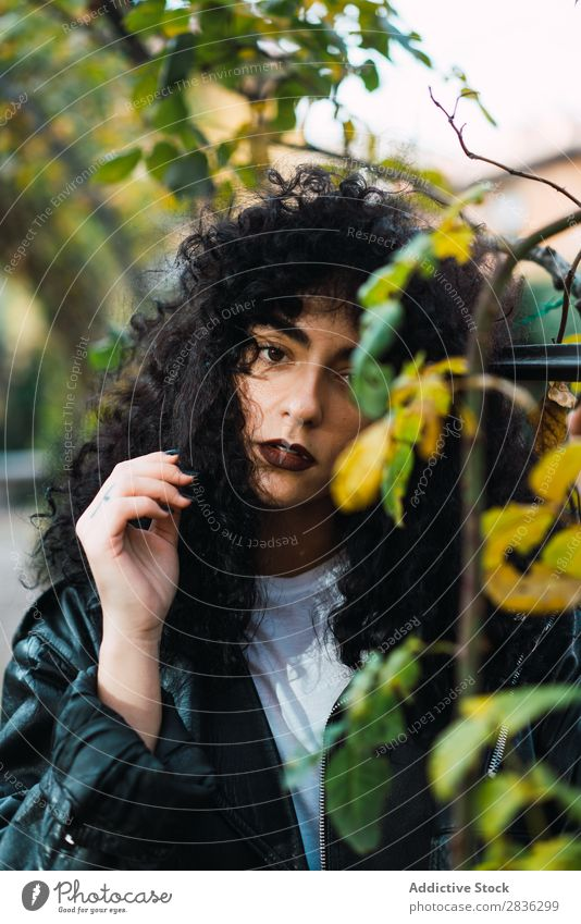 Young curly woman in park Woman Attractive City fashionable Curly Brunette Park Autumn Leaf Looking into the camera Jacket Fashion Youth (Young adults)