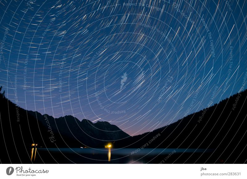 Blue Water Calm Landscape Relaxation Dark Mountain Movement Lake Time Aviation Stars Illuminate Beautiful weather Elements Alps