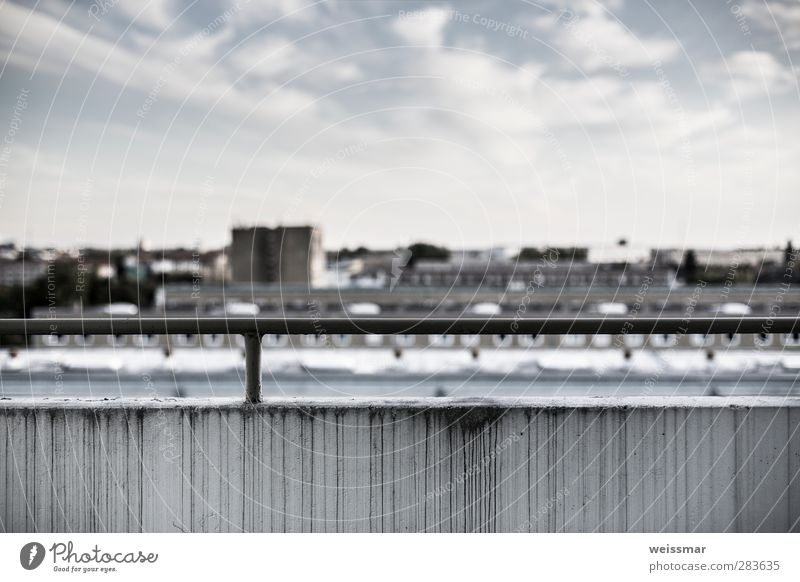 Sight Block Cottbus Skyline Deserted High-rise Wall (barrier) Wall (building) Facade Balcony Dirty Cold Blue Gray White Colour photo Subdued colour