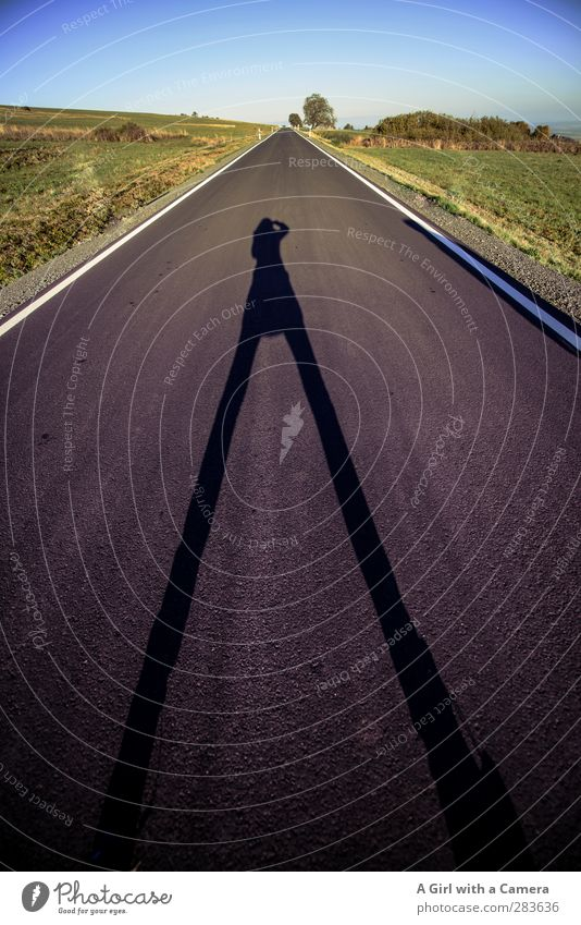 # Big enough for this Human being Feminine 1 Long Street Take a photo Shadow play long road Legs apart Pride Middle Long-legged oversized Colour photo