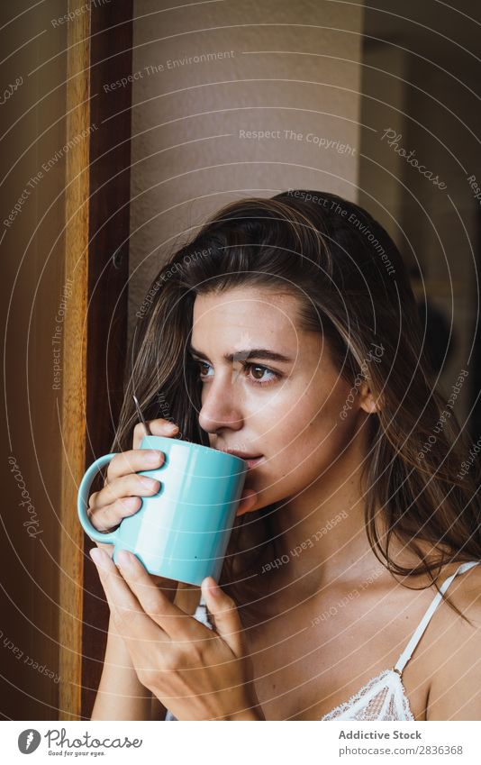 Woman in bra drinking coffee Human being Portrait photograph Attractive Beautiful Cute Lovely