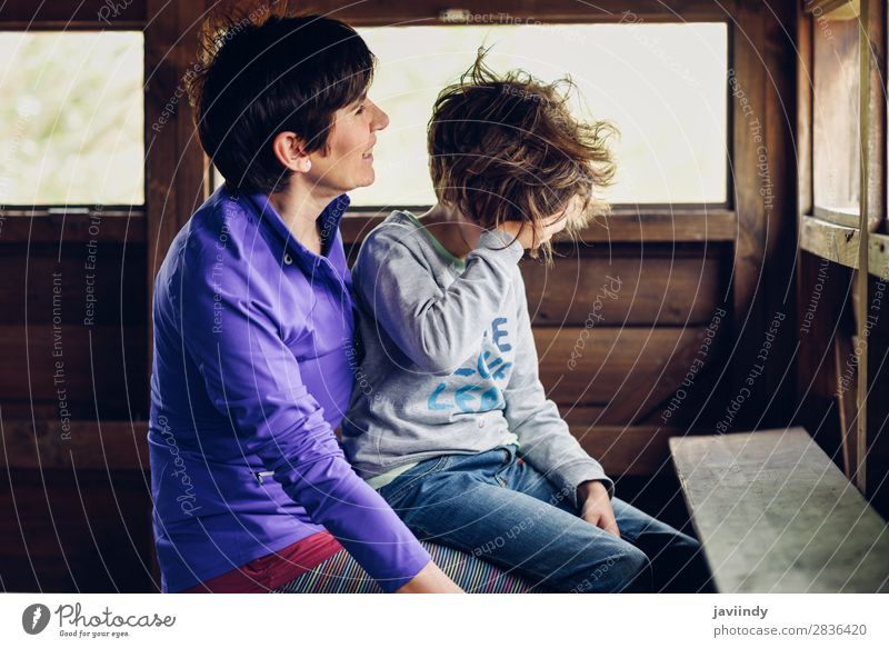 Mother with her seven year old daughter laughing Lifestyle Joy Happy Beautiful Face Leisure and hobbies Playing House (Residential Structure) Child Human being