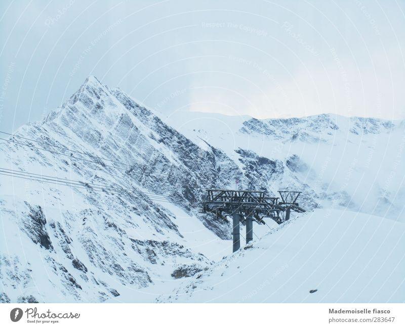 Loneliness Clouds Calm Winter Mountain Cold Snow Above Fog Adventure Idyll Alps Peak Snowcapped peak Glacier Winter sports
