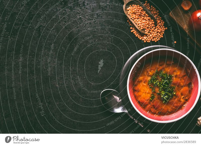 Red lentil soup Food Soup Stew Nutrition Lunch Organic produce Vegetarian diet Diet Crockery Style Healthy Eating Living or residing Design red valve spoon bowl