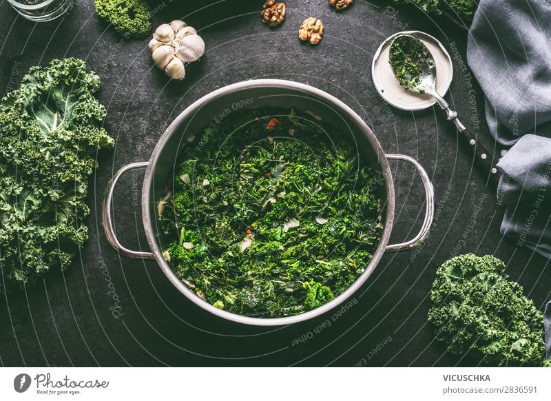 Cooked green cabbage in a saucepan Food Vegetable Soup Stew Herbs and spices Cooking oil Lunch Banquet Organic produce Vegetarian diet Diet Pot Style Design