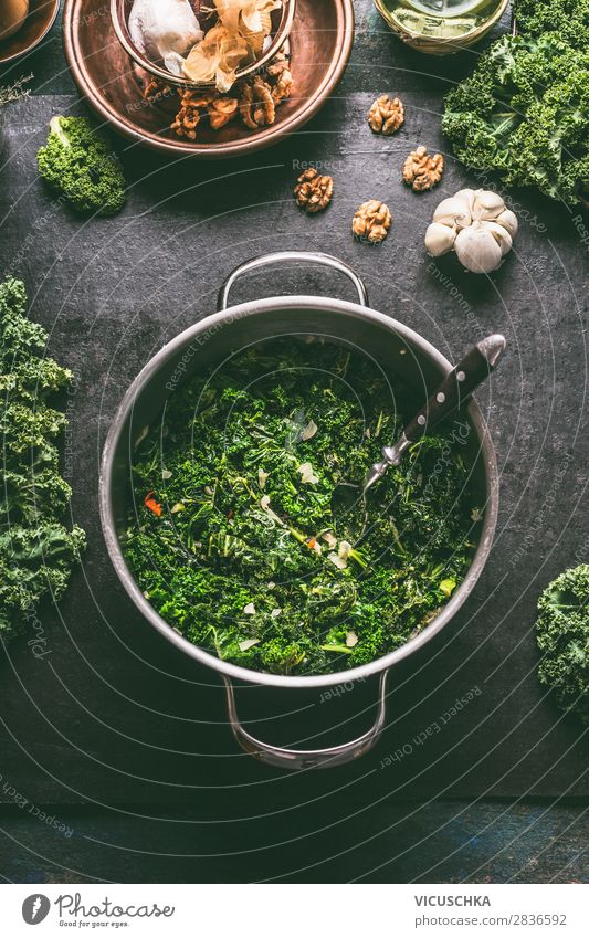 Green cabbage in saucepan Food Vegetable Soup Stew Nutrition Lunch Banquet Organic produce Vegetarian diet Diet Crockery Pot Spoon Style Design Healthy Eating