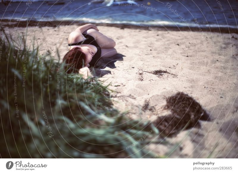 siesta on the beach Vacation & Travel Tourism Far-off places Summer vacation Sun Sunbathing Beach Ocean Waves Human being Feminine Young woman