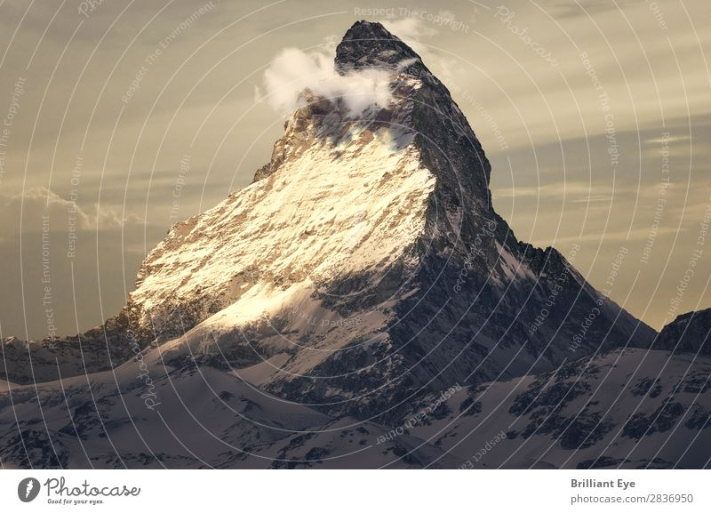 Matterhorn in the beautiful evening light Vacation & Travel Mountain Nature Landscape Sunrise Sunset Winter Warmth Exceptional Large Moody Uniqueness Elegant