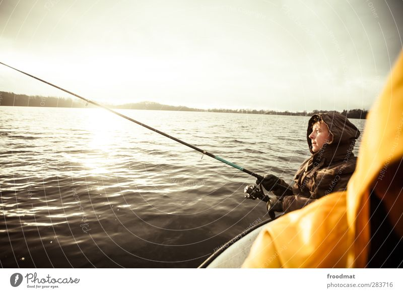 Fishing for Compliments Leisure and hobbies Fishing (Angle) Human being Masculine Young man Youth (Young adults) Man Adults Sun Sunrise Sunset Autumn Winter