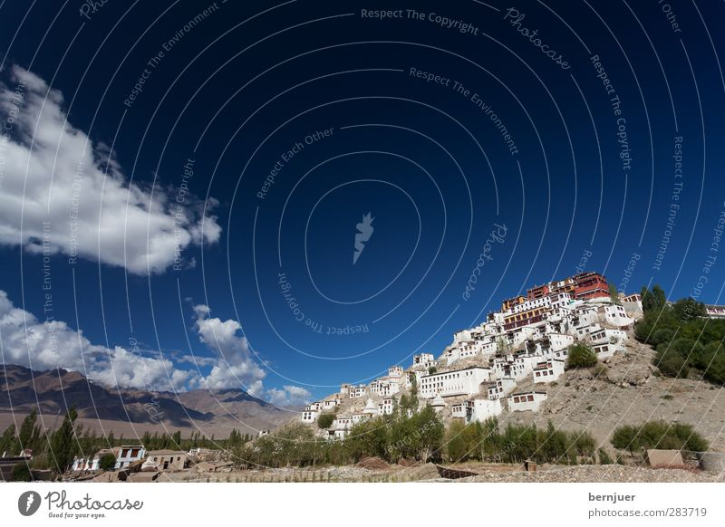 Thiksey Architecture Monument Modest Uniqueness Tourism Thikse-Gompa thiksks Monastery India Ladakh Indus Valley Sky Clouds Buddhism Himalayas Temple Landscape