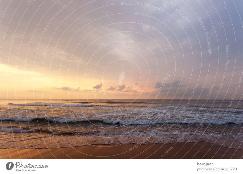Blue Water Beautiful Summer Ocean Beach Clouds Calm Coast Sand Horizon Moody Orange Waves Gold Kitsch