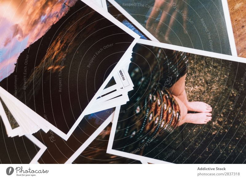 Printed photos on table Photography printed Table Film composition Tracks Image Illustration Paper Vintage Frame Collage Old Wood Retro Collection Beautiful