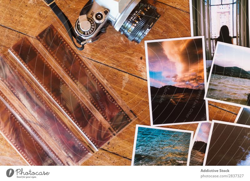 Printed photos and camera Photography printed Camera Film composition Tracks Image Illustration Paper Vintage Collage Technology Retro Collection Border