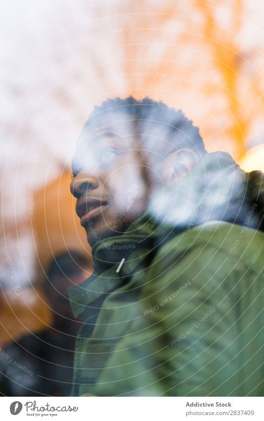 Black man looking at street Man City Style Street Youth (Young adults) Town Lifestyle Easygoing Hipster Fashion Adults Athletic through window handsome Modern