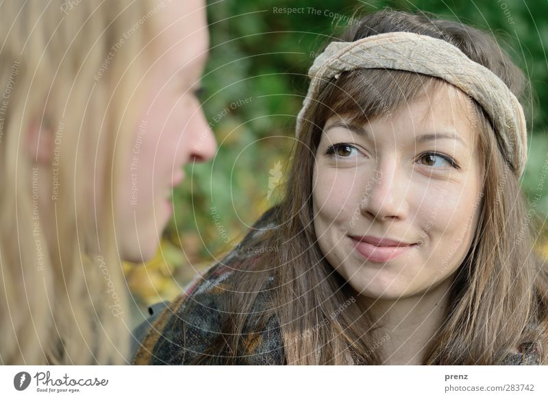 Be Happy Human being Feminine Young woman Youth (Young adults) Woman Adults Head 2 18 - 30 years Gray Green Headband Colour photo Exterior shot