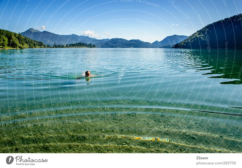 Nature Youth (Young adults) Vacation & Travel Water Summer Tree Calm Landscape Relaxation Mountain Movement Young man Lake Swimming & Bathing