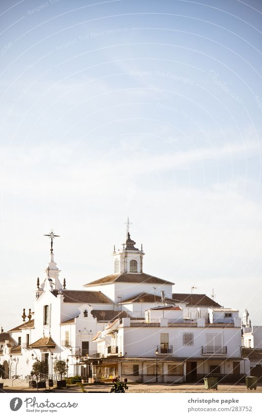 Vacation & Travel Summer Architecture Building Religion and faith Facade Church Beautiful weather Spain Belief Village Landmark Tourist Attraction Crucifix