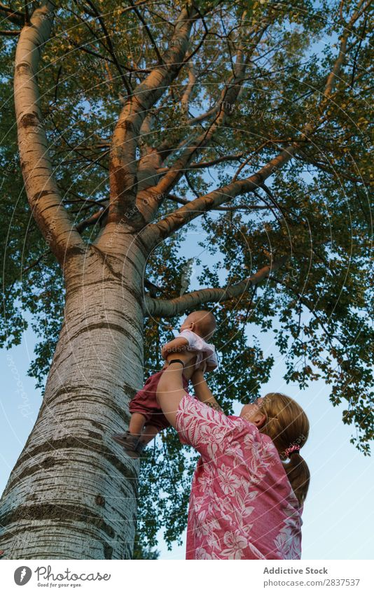 Woman showing tree to child Mother Child Park Tree Indicate Family & Relations Happy Human being Happiness Summer Lifestyle Love Parents Nature