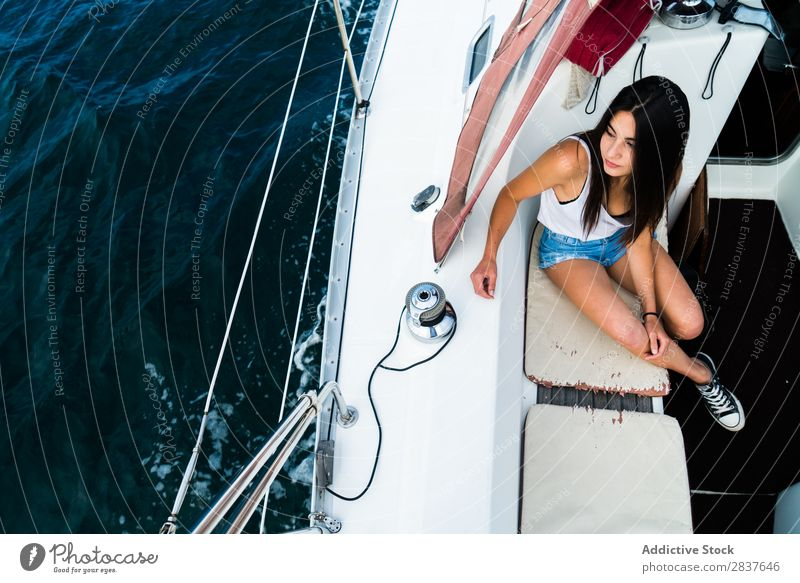 Woman posing on boat Sailboat Summer Ocean Dream Style youngster Exterior shot Relaxation Vacation & Travel Cruise Tourism Nautical Transport Adventure