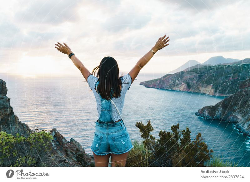Woman posing happily on nature Posture Nature Freedom Dream Landscape Style hands apart Relaxation Harmonious Meditation Happiness Energy Vacation & Travel