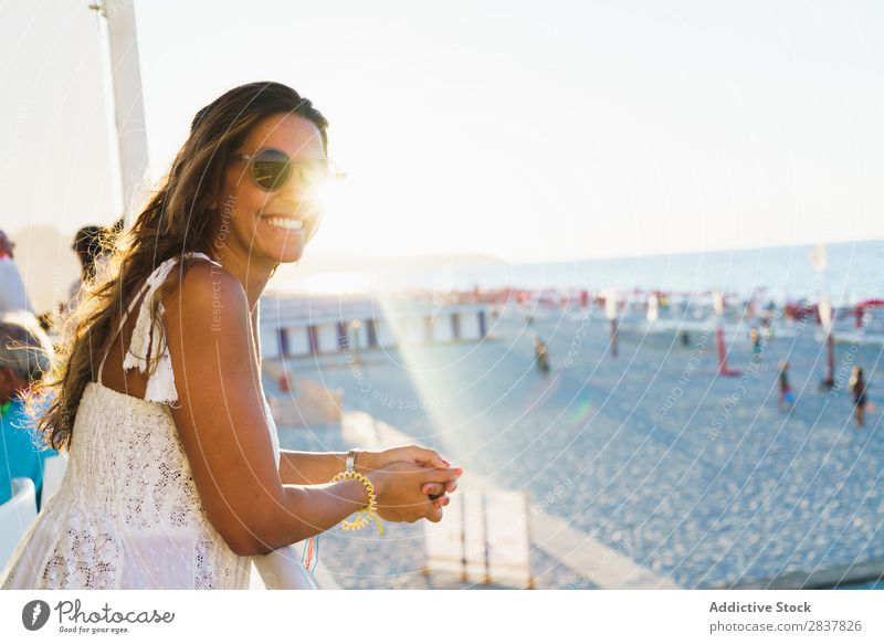 Woman enjoying beach view Beach Ocean Dream Traveling Posture Freedom daydreaming Fence Vacation & Travel seascape Lean Style Youth (Young adults) Tourism