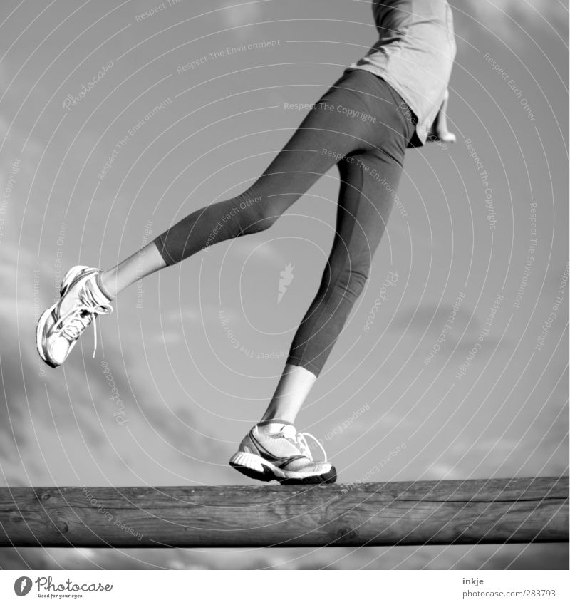 balance Body Healthy Athletic Fitness Life Leisure and hobbies Playing Sports Sports Training Sportsperson Girl Infancy Children's leg Legs 1 Human being Pants