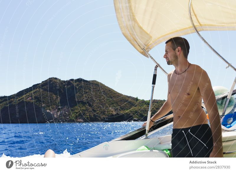 Man posing on ship Summer Sailboat Yacht Sailing Relaxation Ocean Vacation & Travel Vessel