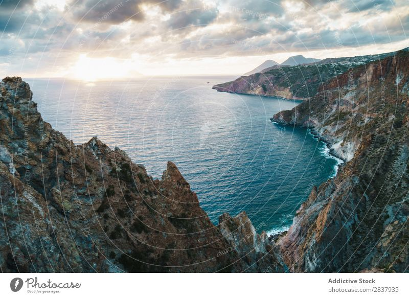 Aerial view to mountain lake Coast Rock Waves Tropical Ocean Powerful Exotic Energy