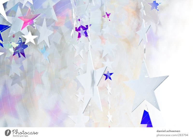 asterisk Decoration Christmas & Advent Bright Blue Silver White Star (Symbol) Subdued colour Copy Space left Copy Space right Copy Space bottom